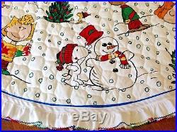 Vintage 60 Diameter Charlie Brown Peanuts Christmas Tree Skirt Quilted Handmade