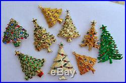 Vintage 60 Pc Lot, Rhinestone & Enamel Christmas Tree Brooch, Earrings, Necklace