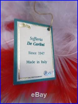Vintage 7.75 De Carlini Italy Blown Glass Xmas Tree Ornament GORGEOUSRARE! NWT