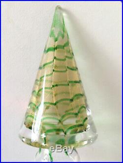 Vintage 7½ Murano Glass Christmas Tree w Blue & Gold Swirl Design Orig. Label