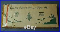 Vintage 7' Silver Aluminum Pom Pom Christmas Tree with stand & original box