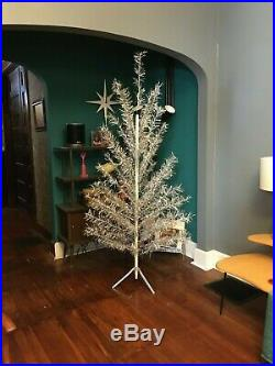 Vintage 7 ft mid century modern Aluminum Silver CHRISTMAS TREE 63 branches 50s