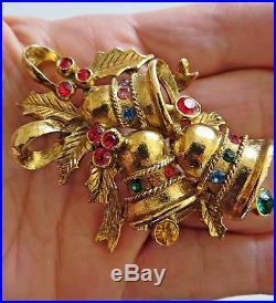Vintage 70's BEATRIX Large Christmas Tree Bells Pin Brooch Gold Tone Rhinestones