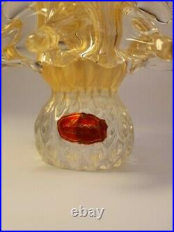 Vintage 70s Murano Glass 24k Gold Flake Christmas Tree Figurine Original Sticker