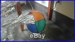Vintage 7ft Aluminum Christmas Tree Pom Pom, Stand & Color Wheel