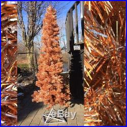 Vintage 8' Narrow Christmas Tree Rare Copper And Silver Colour MCM