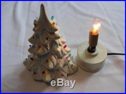 Vintage 9 White Ceramic Light Up Christmas Tree WORKS! Missing 4 pegs