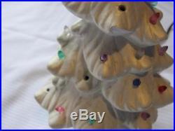 Vintage 9 White Ceramic Light Up Christmas Tree WORKS! Missing 4 pegs