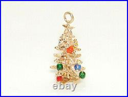 Vintage A. C. 14k Solid Yellow Gold 3D Christmas Tree with Star & Ornaments CHARM
