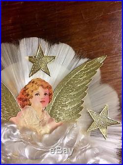 Vintage ANGEL Spun Glass Christmas Tree Topper, Gold Foil Stars, Original Box