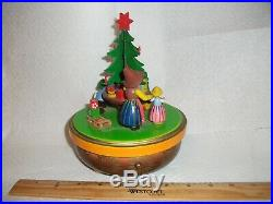 Vintage Adorable German Steinbach Reuge Wood Around the Christmas Tree Music Box