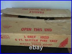 Vintage Alcoa Aluminum 6 Ft Christmas Glitter Pine Tree Box & Instructions