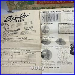 Vintage Aluminum Christmas Pom Pom Tree 4 Star Band The Sparkler M-452 Complete