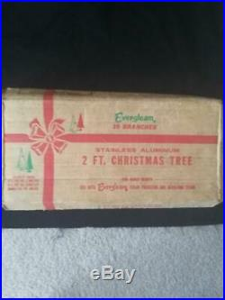 Vintage Aluminum Evergleam Christmas Tree 2 ft. Pom Pom Style in Original Box