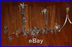 Vintage Aluminum POM POM Silver Xmas Tree 49 Branches withsleeves and Stand