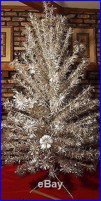 Vintage Aluminum Silver Pom Pom Christmas Tree 7ft 128 Branches