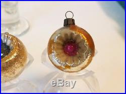 Vintage Antique Christmas Feather Tree Ball Ornament Mercury Glass Bauble Indent