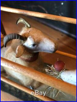 Vintage Antique Christmas Putz Wool Sheep Ram Christmas Cart Feather Tree German