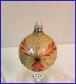 Vintage Antique Christmas Tree Indent Ball Bauble Ornament Mercury Glass Finial