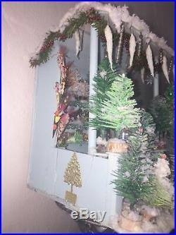 Vintage Antique German Christmas Stall Market Miniature Feather Tree Scene Putz