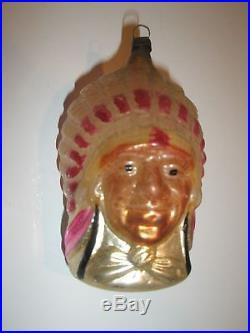 Vintage Antique Glass Christmas Tree Ornament Native American Indian Figural
