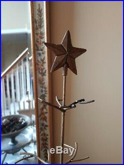Vintage Antique Gold Metal Star Christmas Tree 25 Ornament Display Stores Flat