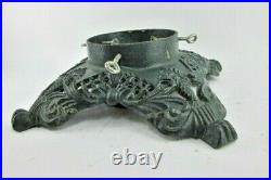 Vintage Antique Heavy Cast Iron Christmas Tree Stand Holder Green 14 Square