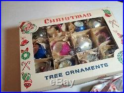 Vintage Antique Lot Of 23 Christmas Tree Ornaments Birdhouse Scenic Kaleidoscope