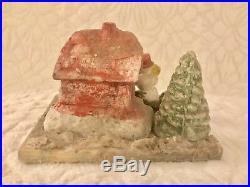 Vintage Antique Rustic Bisque Snowman House Christmas Tree Snow Scene