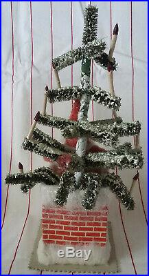 Vintage Antique Santa in Chimney Bottle Brush Christmas Tree Candles Cardboard