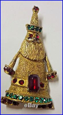 Vintage Art Deco Designe Rhinestone Gold Tone Santa Christmas Tree Pin Brooch