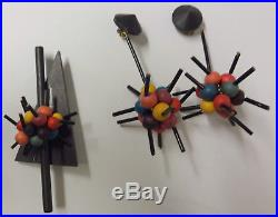 Vintage Art Deco Modernist Christmas Tree Ornaments Pin Brooch Dangle Earrings