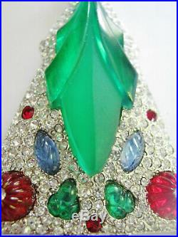 Vintage Art Deco Tutti Frutti Jeweled Christmas Tree Pin, Book Cover! Inc Book