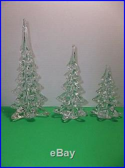 Vintage Art Glass CHRISTMAS TREE 10.75 8 6 CRYSTAL CLEAR Evergreens