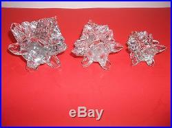 Vintage Art Glass CHRISTMAS TREE Crystal Clear 9.5 8.5 5.5 Set Of 3