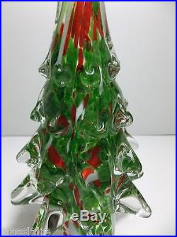 Vintage Art Glass CHRISTMAS TREE Green RED White 12.5 Evergreen 6.5 POUNDS