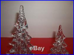 Vintage Art Glass CHRISTMAS TREE Set Of 2 TWISTED TOP CRYSTAL CLEAR 8 6