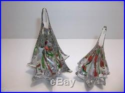 Vintage Art Glass CHRISTMAS TREE Set Of 2 White GREEN Red RIBBON 7 6.25