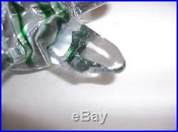 Vintage Art Glass CHRISTMAS TREE Set Of 3 GREEN RIBBON 8 6 5.5