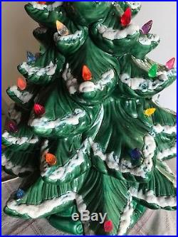 Vintage Atlantic Mold 21 Flocked Ceramic Christmas Tree-snowy Branches