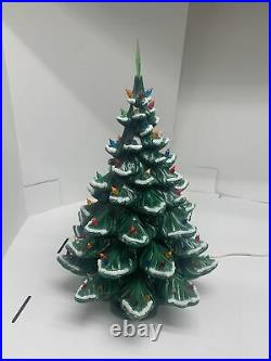 Vintage Atlantic Mold Ceramic Christmas Tree 26 WithStar Snow Flocked Music Box