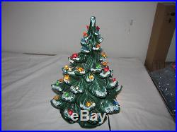 Vintage Atlantic Mold Ceramic Christmas Tree Light 16 Snow Capped Branches 1974