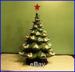 Vintage Atlantic Mold Ceramic Christmas Tree Lighted Base Flocked Christmas Tree