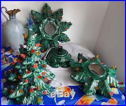 Vintage Atlantic Mold Ceramic Christmas Tree Lights Up Bulbs Star Base 4 PC RARE