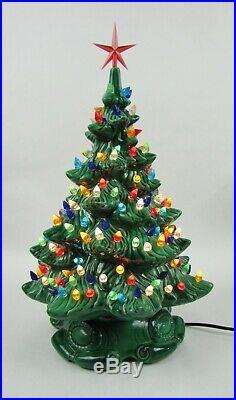 Vintage Atlantic Mold Ceramic Christmas Tree Music Box Base 16 Over 140 lights