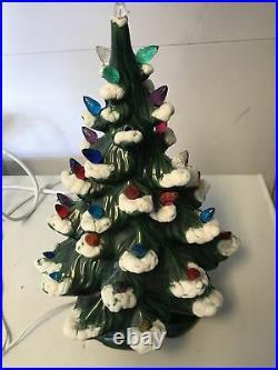 Vintage Atlantic Mold Ceramic Christmas Tree With Snow Green tree 16 Inch Tall