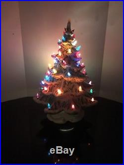 Vintage Atlantic Mold Ceramic Flocked Green Christmas Tree withLights 19