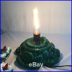 Vintage Atlantic Mold Ceramic Green Flocked Christmas Tree 19 Tall Music Box