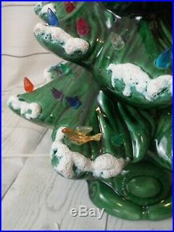Vintage Atlantic Mold Ceramic Light Up Christmas Tree Scrolled Base 16