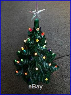 Vintage Atlantic Mold Ceramic Lighted Christmas Tree 17 Tall With Base, Star
